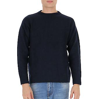 Laneus Mgu570cc3 Men's Blue Wool Sweater