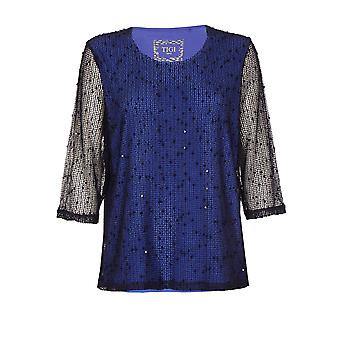 TIGI Navy Diamante Mesh Top