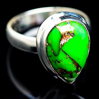 Green Copper Composite Turquoise Ring Size 4.25 (925 Sterling Silver)  - Handmade Boho Vintage Jewelry RING2621