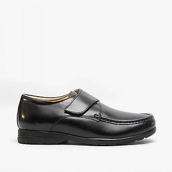 Roamers Albie Mens Cuir Extra Wide Fit Touch Fasten Loafers Noir