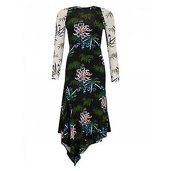 Kenzo Sea Lily Print Asymmetric Dress