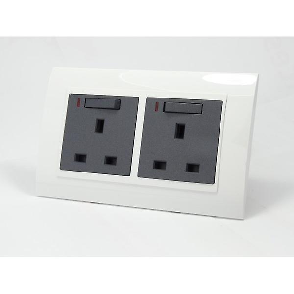 I LumoS AS Luxury White Plastic Arc Double Switched with Neon Wall Plug 13A UK Sockets