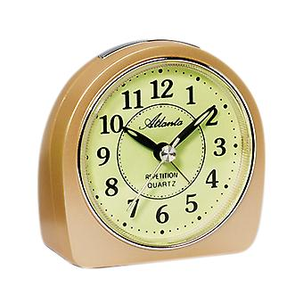 Atlanta 1586/9 alarm clock quartz analog beige quietly without ticking with light Snooze
