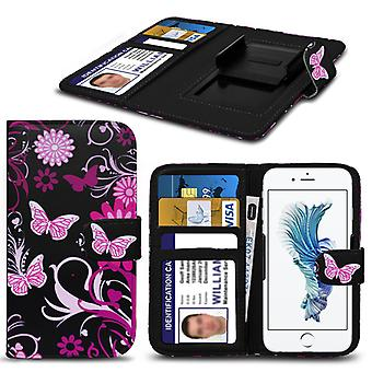 i-Tronixs Allview P6 Lite Case PU Leather Pink Butterfly Printed Design Pattern Wallet Clamp Style Spring Skin Cover- Pink Butterfly