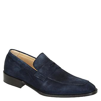 Blue suede leather penny loafers shoes handmade
