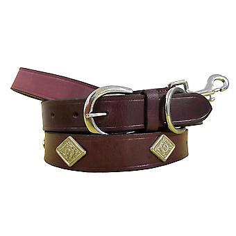 Bradley crompton genuine leather matching pair dog collar and lead set bcdc20purple