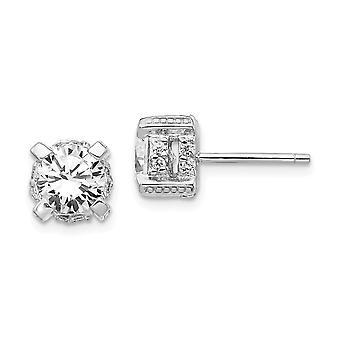 925 Sterling Sølv Rhodium belagt CZ Cubic Zirconia simuleret Diamond Post Øreringe smykker gaver til kvinder