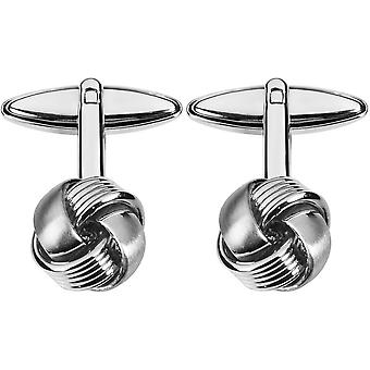 Orton West Rhodium Plated Knot Cufflinks - Silver