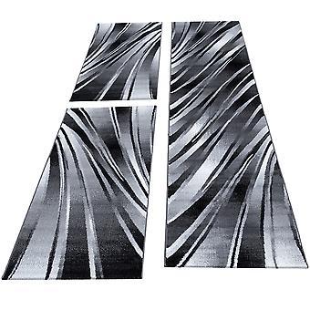 Tapijt bed grens 3-delige korte bloemenslaapkamer zwart wit gevlekt