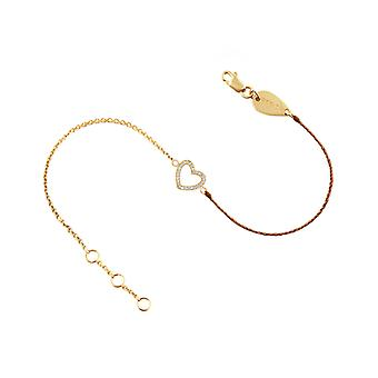 Bracelet Heart 18K Gold and Diamonds, on Half Thread Half Chain - Yellow Gold, Chesnut