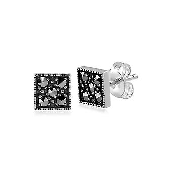 Art Deco Style Round Marcasite Stud Earrings in 925 Sterling Silver 214E680201925