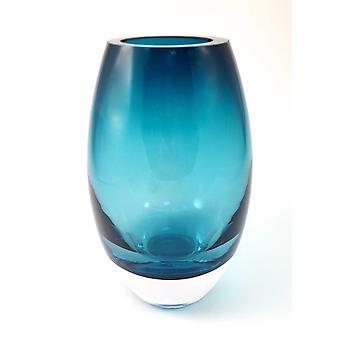 """9"""" Mouth Blown Crystal Peacock Blue Crystal Vase"""