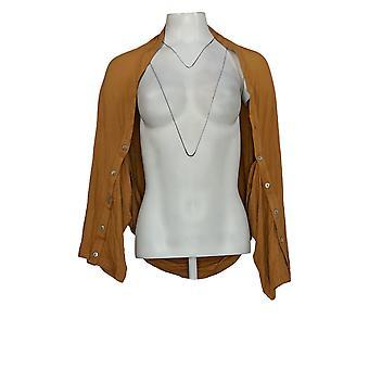 LOGOTIPO por Lori Goldstein Women's Top Shrug W/ Button Detail Brown A347659