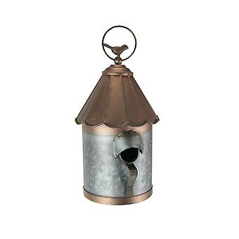 Galvanized Metal Scalloped Roof Grain Silo Hanging Birdhouse Birdhouse