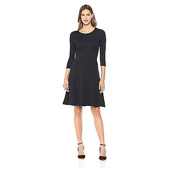 Lark & Ro Women's Three Quarter Sleeve Knit Fit and Flare Dress, Black, X-Large