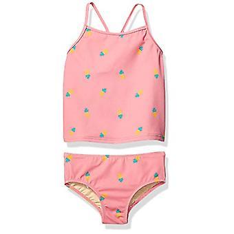 Essentials Girl's 2-Piece Tankini Set, Pink Pineapple, Medium