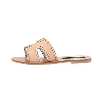 Steven by Steve Madden Womens Greece-M Leather Open Toe Casual Slide Sandals