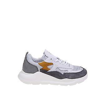 D.a.t.e. M331fgcsgy Men's Grey Leather Sneakers