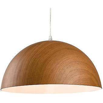 1 Light Dome Ceiling Pendant Brown Wood, E27
