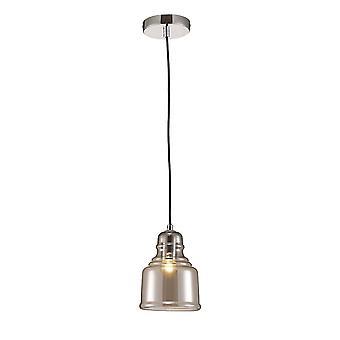 Pendentif plafond Bell E27 Chrome poli, verre fumé