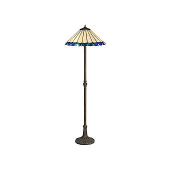 2 Light Leaf Design Floor Lamp E27 With 40cm Tiffany Shade, Blue, Crystal, Aged Antique Brass
