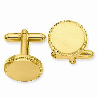 14k Guldpläterad Solid Satin Graverbar (endast fram) Florentined Round Beaded Manschett Länkar Smycken Gåvor för män