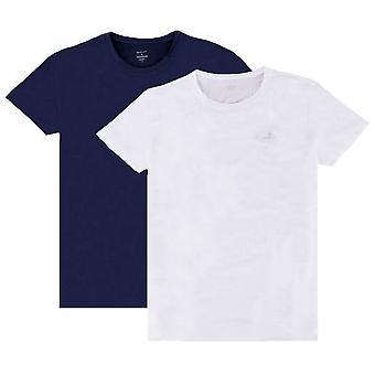 Gant 2 Pack Rundhals T-Shirt - Marine/Weiß