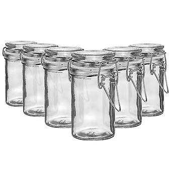 Argon Tableware Glass Spice Jars with Airtight Clip Lid - 70ml Set - White Seal - Pack of 6