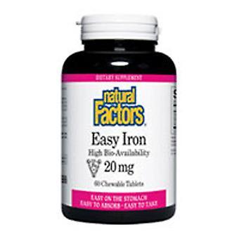 Luonnolliset tekijät Helppo rauta, 20 mg, 60 Pureskeltava Tabs