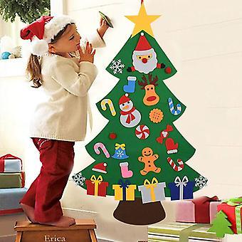 Enfants DIY Felt Christmas Tree Décoration de Noël pour la maison Navidad 2021 Cadeaux du Nouvel An Ornements de Noël Santa Claus Xmas Arbre