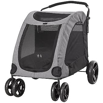 PawHut Dog Stroller 4 Wheels Foldable Pet Trolley Carrier Mesh Windows for Medium Large Dogs Traveling Grey