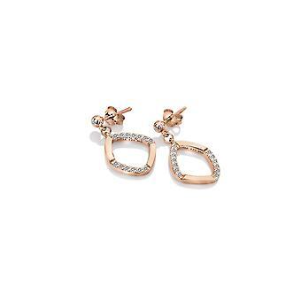Hot Diamonds Sterling Silver Rose Gold Behold White Topaz Earrings DE647