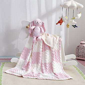 Newborn Baby Quilts Blanket With Toy Soft Stroller Sleep Cover, Cartoon Beanie