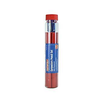 Faithfull Carpenter's Pencils Tube & Sharpener FAICPR12S