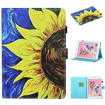 For iPad 10.2 / Air 2019 / Pro 10.5 Colored Drawing Stitching Horizontal Flip Leather Case, with Holder & Card Slots & Sleep / Wake-up Function(Sunflo