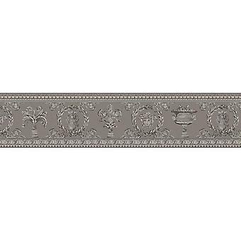 Versace Wallpaper Bordi Medusa Head Luxury Designer In rilievo Grigio