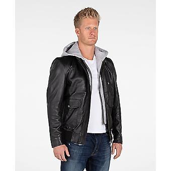 Men's Hooded Leather Bomber Jacket
