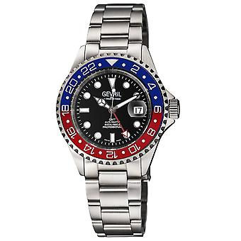 Gevril Men's Wall Street GMT Stainless Steel Bracelet Watch
