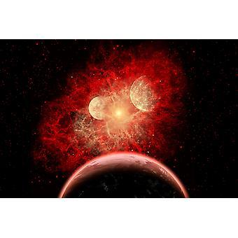 Supernova tuhoaa sen järjestelmän planeettoja syvyyksiin meidän galaksi Juliste Tulosta