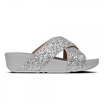 FitFlop Lulu Glitter Slide Ladies Sandals Silver