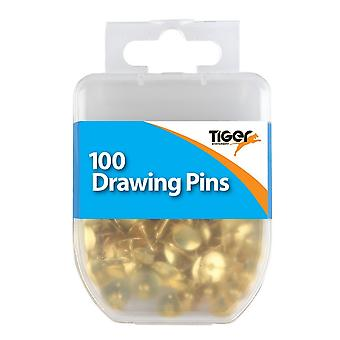 Tiger Stationery Essentials Drawing Pins (Pack of 100)