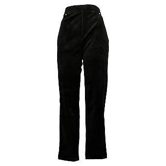 Quacker Factory Women's Pants Regular Knit Corduroy Pull-On Slim Black A279070