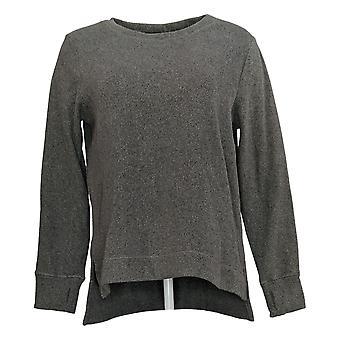 Cuddl Duds Women's Top Fleecewear Stretch Hi-Lo Crew Pullover Gray A381711