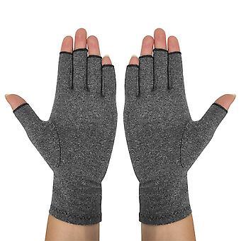 1 Paar Handgelenk Kompression Anti-Rutsch Halbfinger Haushaltshandschuhe (grau)