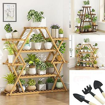 Six Tier Wooden Plant Stand Flower Patio Garden Planter Pot Shelf Multi Bonsai