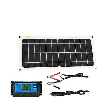 Monocrystaline solar panel usb charger kit with 10a controller & cables