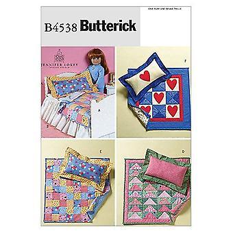 Butterick أنماط الخياطة 4538 18 بوصة دمية سرير حاف حاف وسادة واحدة حجم