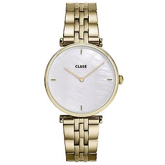 Cluse Cw0101208014 Triomphe White Pearl & Gold Stainless Steel Dames Horloge