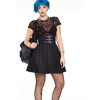 Jawbreaker Clothing High Waisted Twill Skirt With Leather Straps