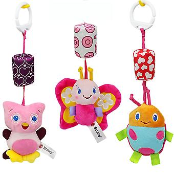 3pcs Owl Ladybug Butterfly Rattle Toys With Chime Plush Baby Hanging Toys Colorful Rattling Doll For Infant